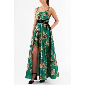 EShakti Green Floral Dupioni Empire Maxi Dress